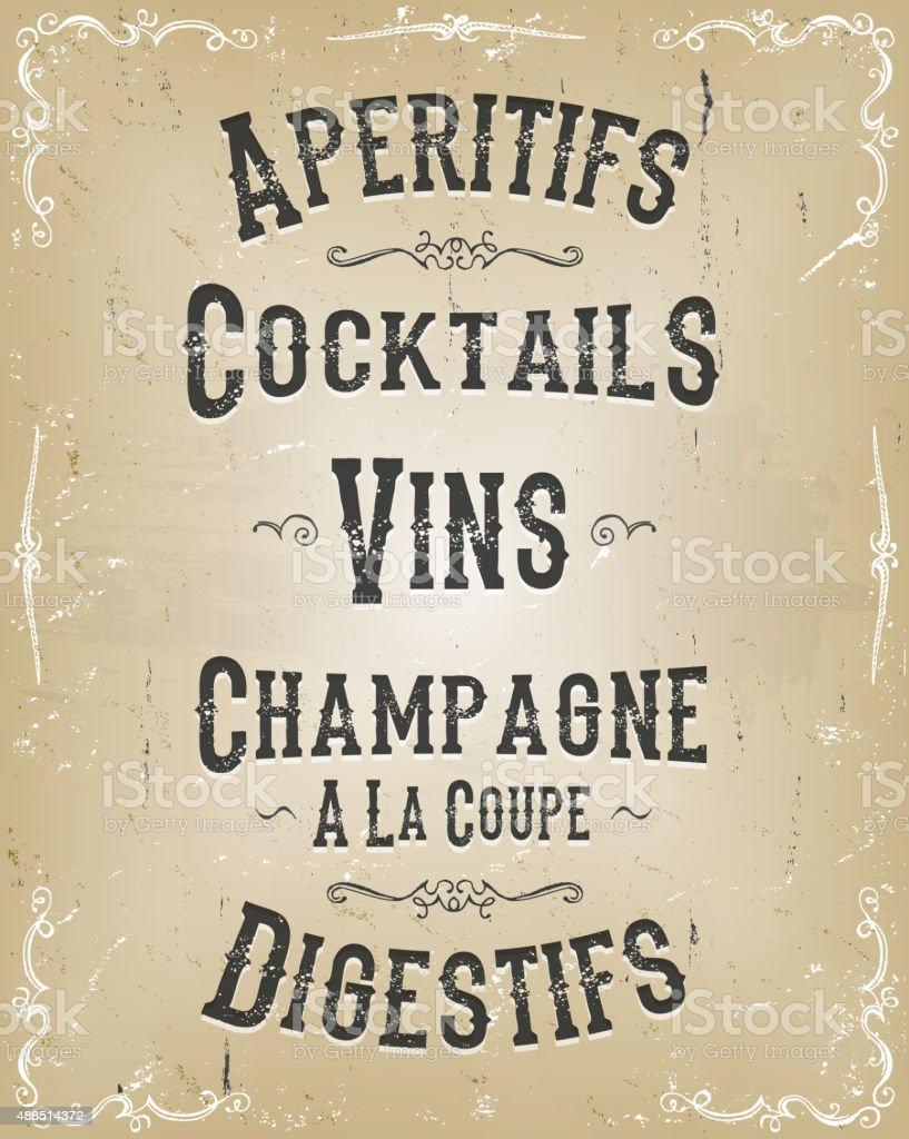 Alcohol And Beverage Poster Menu vector art illustration