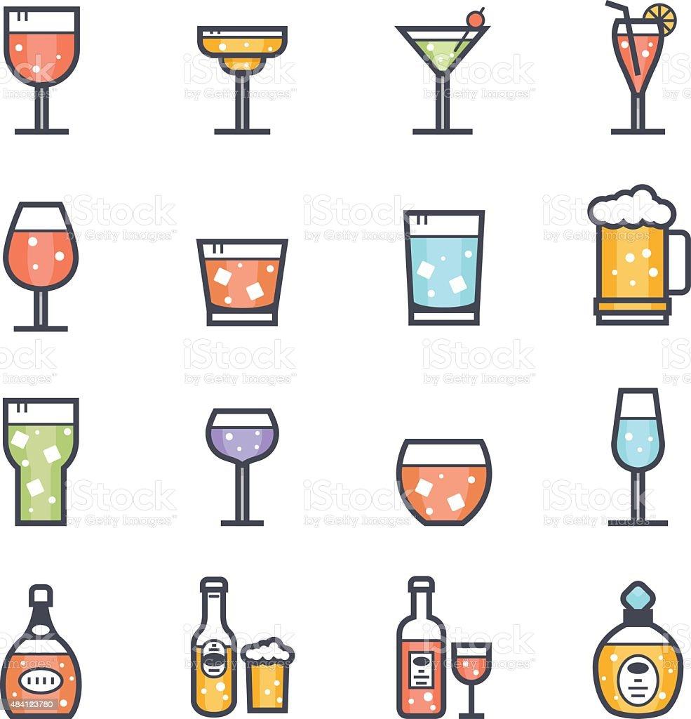 Alkoholische Getränkesymbol Mit Auffälligen Stroke Color Stock ...