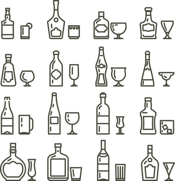 Alcohol beverages art icons or alcoholic drinks thin line signs vector art illustration