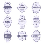 Alcohol bottle labels. Traditional alcohol stickers, vintage bourbon and gin bottle emblem, bar drink packaging tags vector isolated symbols set. Wine, whiskey and beer, scotch and brandy, vodka badge