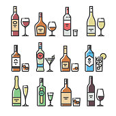 Alcohol bottles and glasses - line art icons