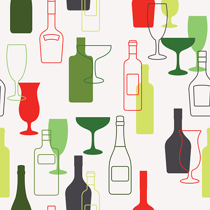 Alcohol bottles and glasses pattern