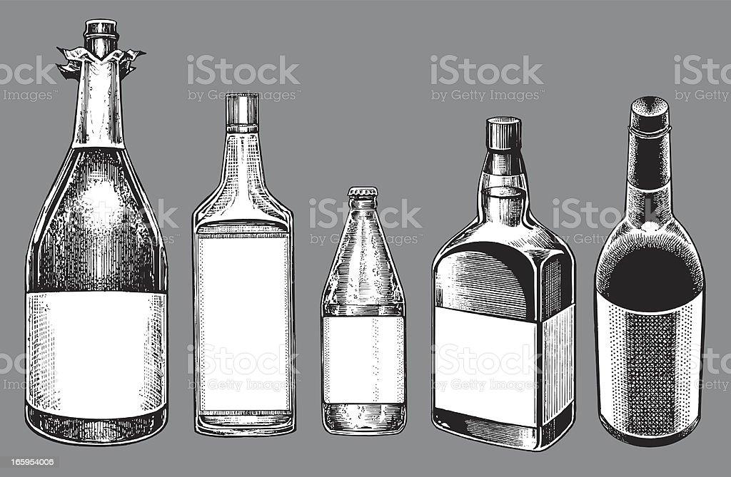 Alcohol Bottles - Champagne, Wine, Beer, Whiskey, Gin vector art illustration