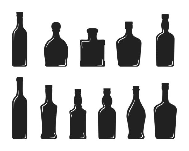 alcohol bottles of wine, whiskey, vodka, tequila, brandy, scotch, cognac, gin and rum. bar cold cocktail booze. vector illustration. - alcohol drink silhouettes stock illustrations