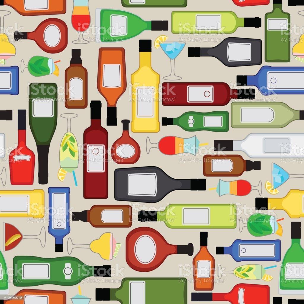 Alcohol bottles pattern vector art illustration