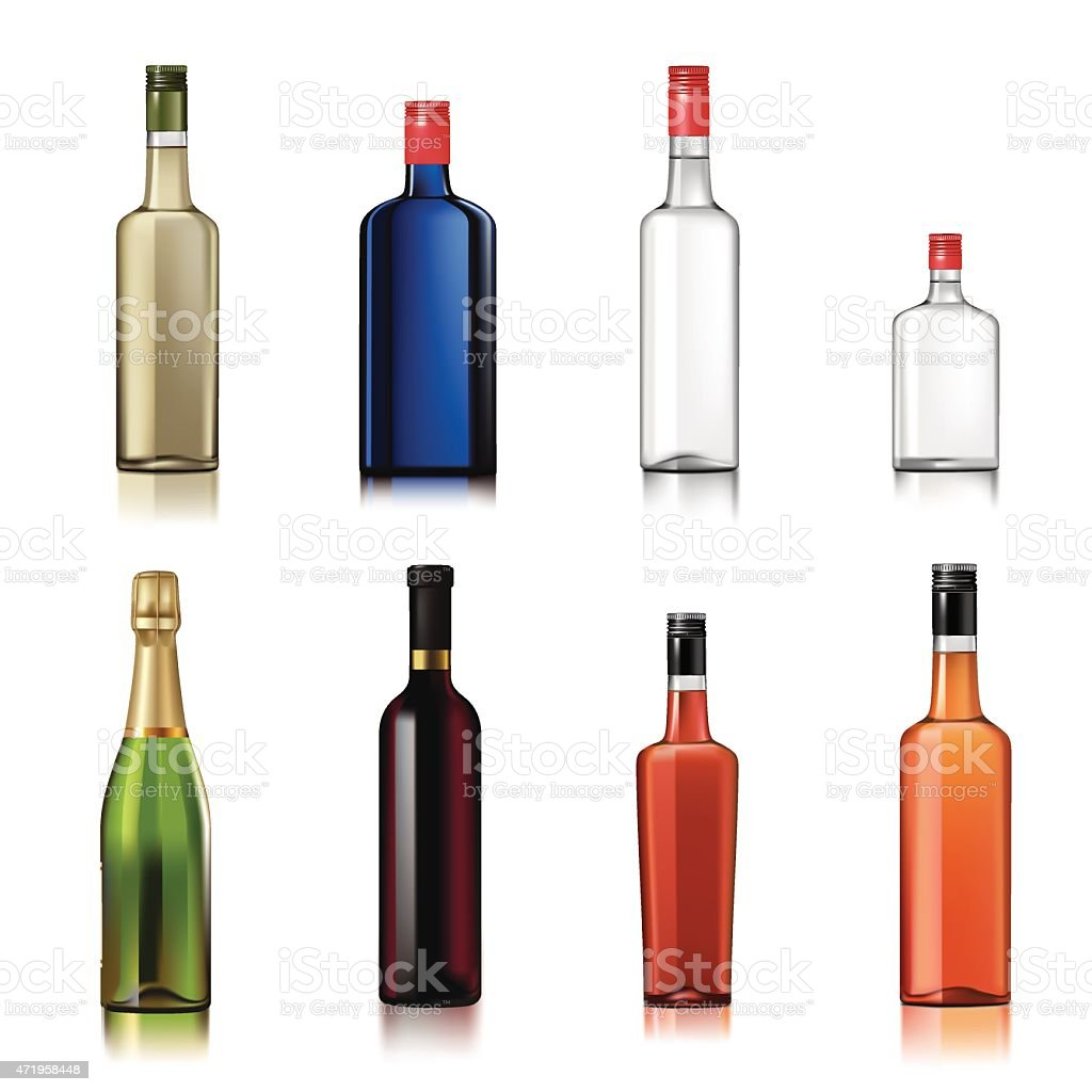 Alcohol bottles vector art illustration