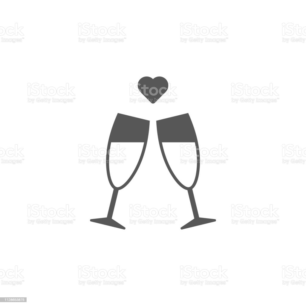 e8aadf59e1c0 Alcohol, champagne, heart, glasses icon. Simple glyph, flat vector of  valentines day, love icons for UI and UX, website or mobile application -  Illustration .