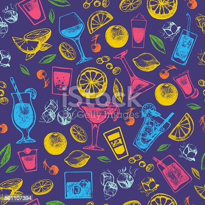 istock Alcohol cocktails drinks hand drawn vintage style collection and party alcoholic sweet tequila vector illustration seamless pattern background 861107394