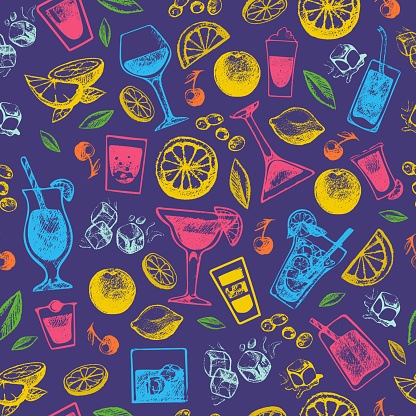 Alcohol cocktails drinks hand drawn vintage style collection and party alcoholic sweet tequila vector illustration seamless pattern background