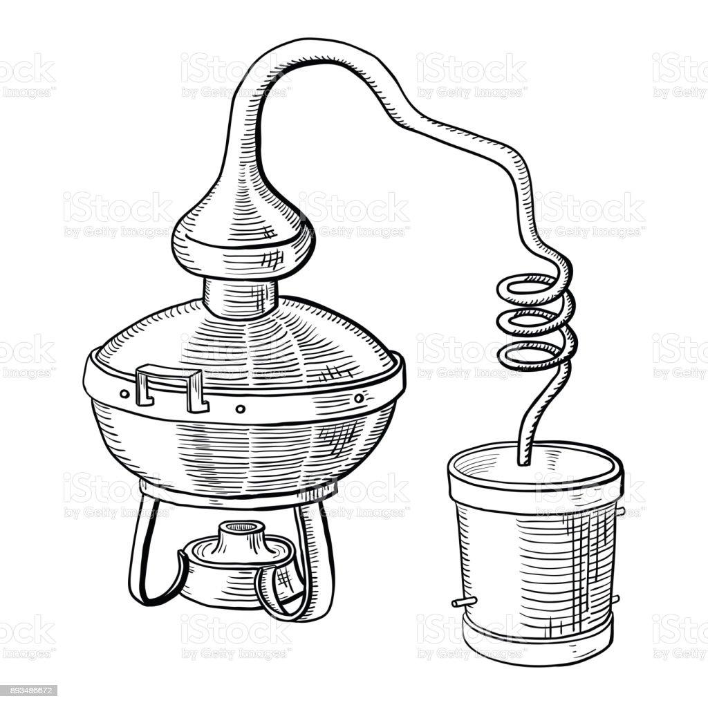 proceso de destilación de alcohol - ilustración de arte vectorial