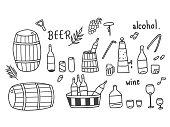 Alcohol doodle set.