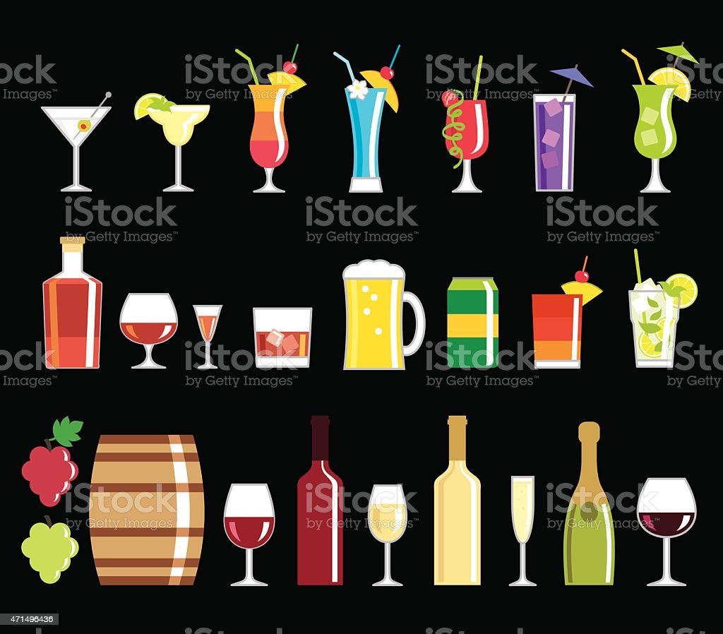 Alcohol drink icons vector art illustration