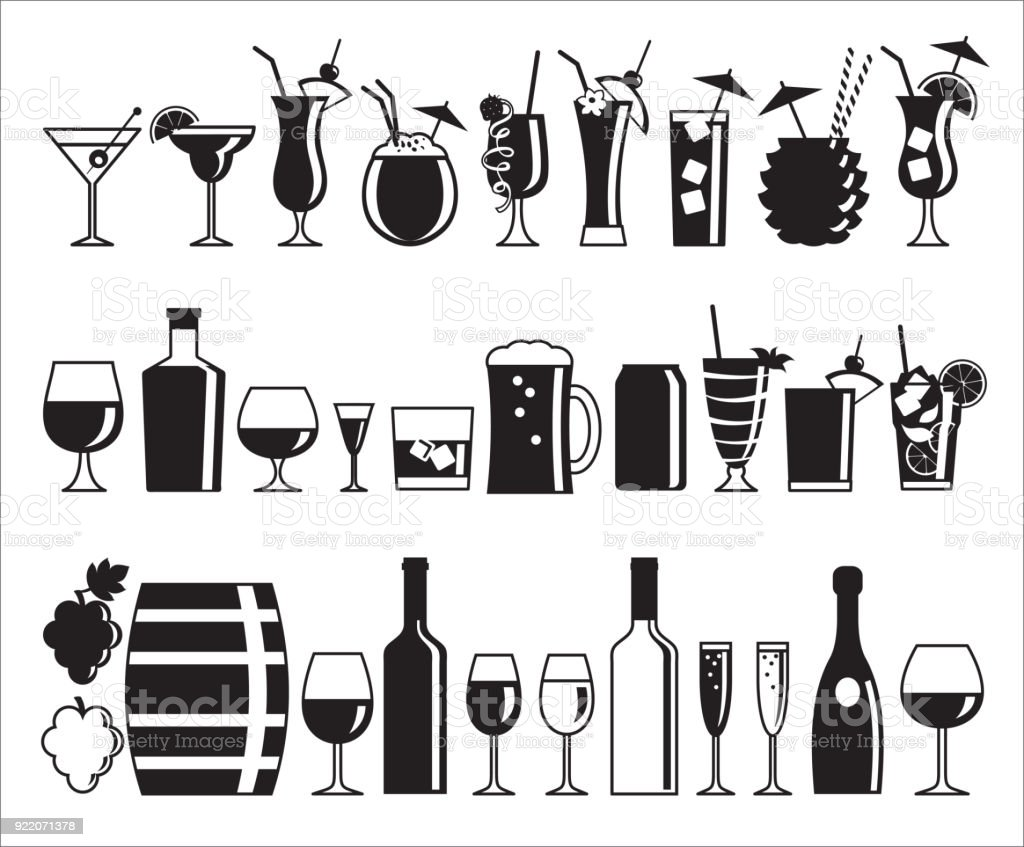 Alcohol drink icons royalty-free alcohol drink icons stock illustration - download image now