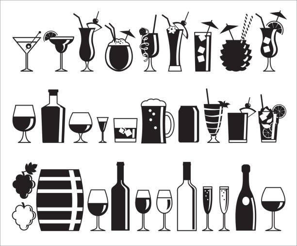 alcohol drink icons - cocktails stock illustrations, clip art, cartoons, & icons