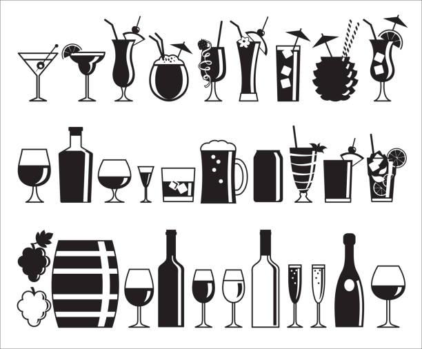 ilustraciones, imágenes clip art, dibujos animados e iconos de stock de iconos de bebidas alcohólicas  - cóctel