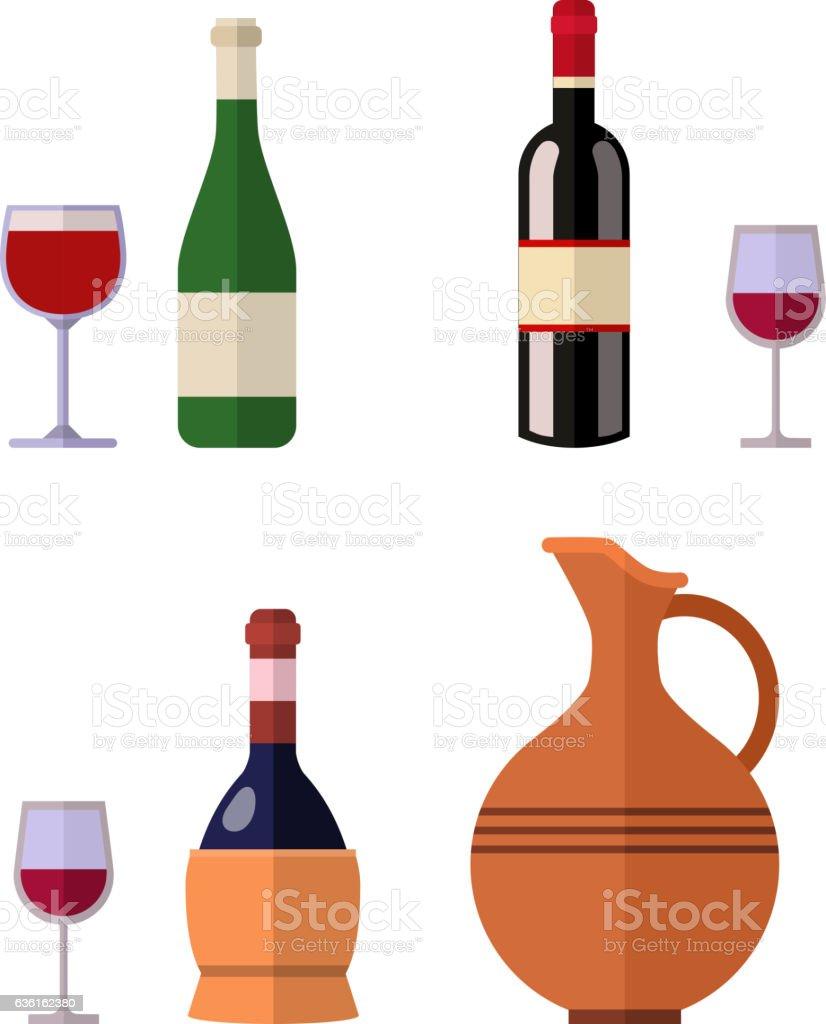 Alcohol drink wine bottle vector. vector art illustration