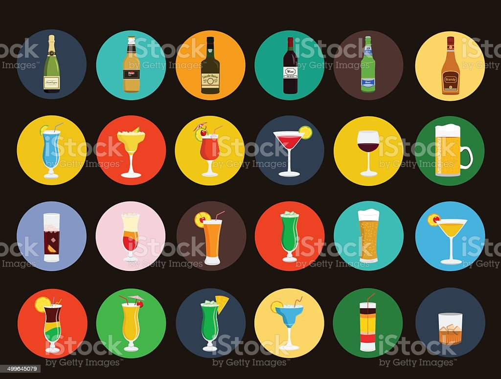 Alcohol drinks and beverages icon set vector art illustration