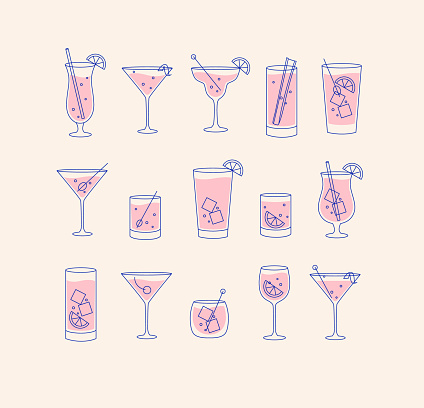 Alcohol drinks and cocktails icon flat set beige