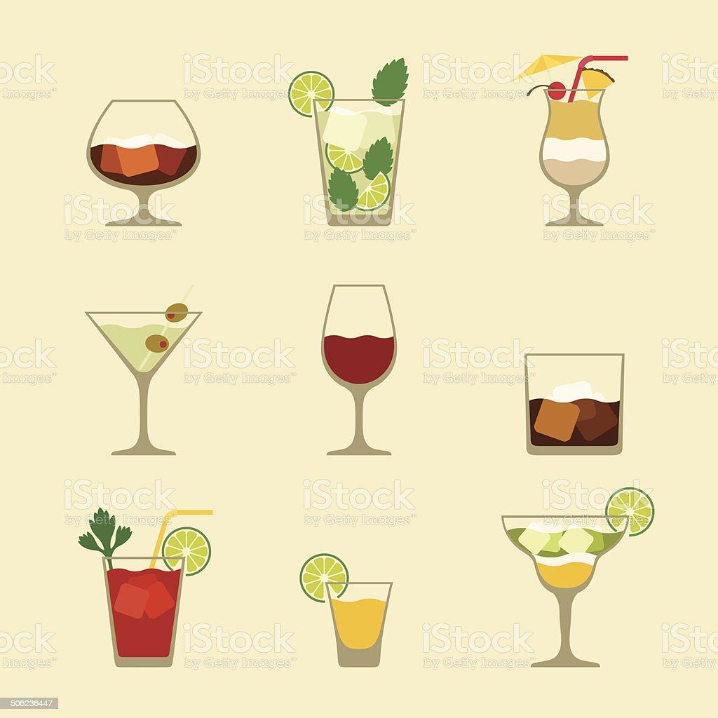 Bevande alcoliche e cocktail set di icone in stile design piatto. - illustrazione arte vettoriale