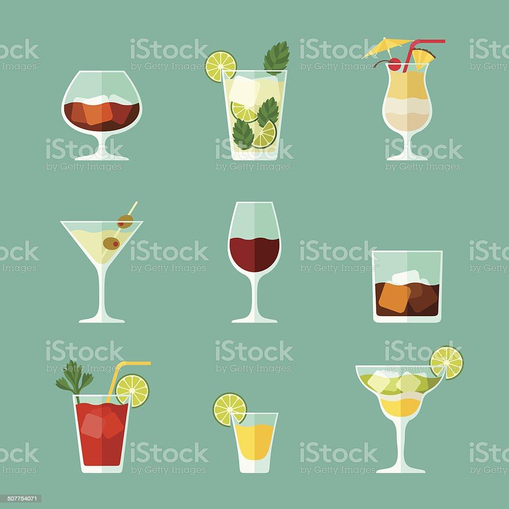 Alcohol bebidas y cócteles conjunto de iconos de diseño plano estilo. - ilustración de arte vectorial