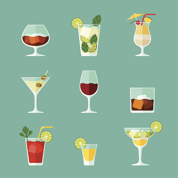 alcohol drinks and cocktails icon set in flat design style. - refreshment stock illustrations, clip art, cartoons, & icons