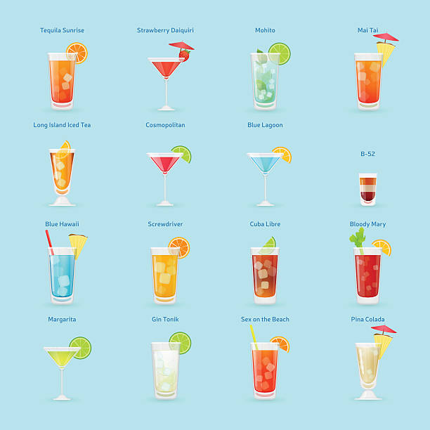 Alcohol drinks and cocktails icon set Popular cocktails set, vector graphics, eps 10 screwdriver drink stock illustrations