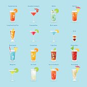 Alcohol drinks and cocktails icon set