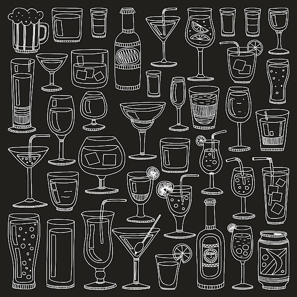 Alcohol drinks and cocktails icon set vector art illustration