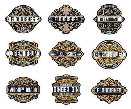 Alcohol drinks brand, beverage retro labels set
