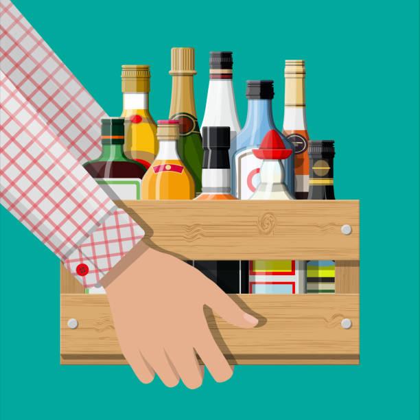 bildbanksillustrationer, clip art samt tecknat material och ikoner med alkohol drycker samling i rutan i hand - wine box