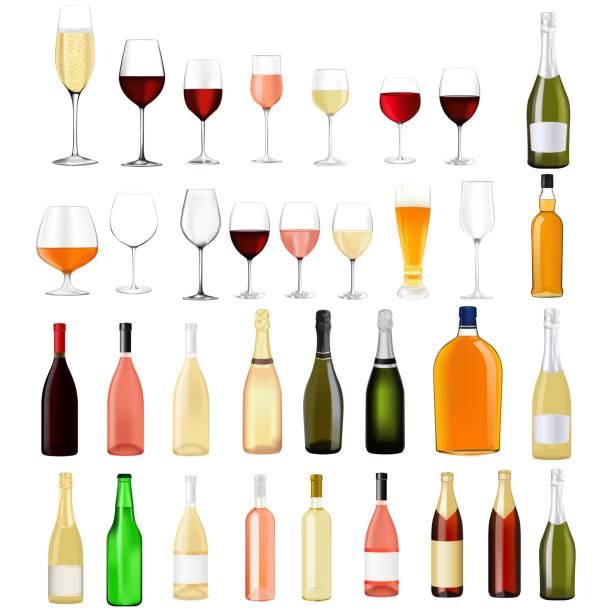 酒精飲料系列向量藝術插圖