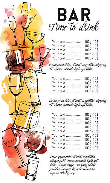 alcohol drinks flyer design set - weinkarte stock-grafiken, -clipart, -cartoons und -symbole