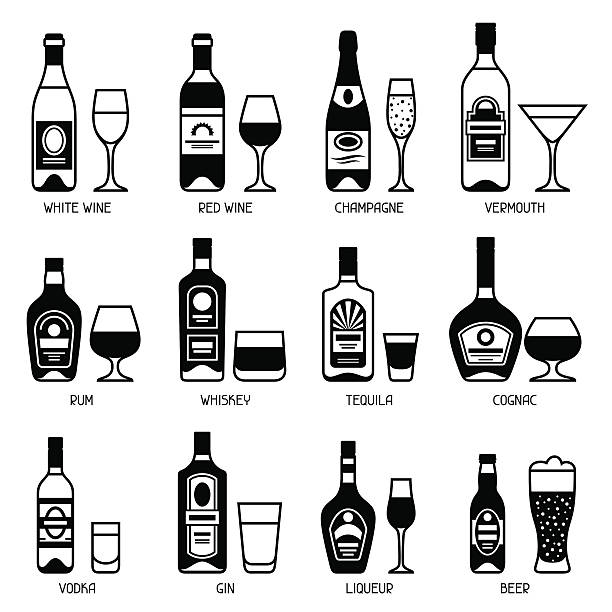 alcohol drinks icon set. bottles, glasses for restaurants and bars - rum stock-grafiken, -clipart, -cartoons und -symbole