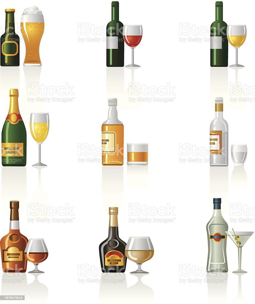 Alkoholische Getränke Iconset Stock Vektor Art und mehr Bilder von ...