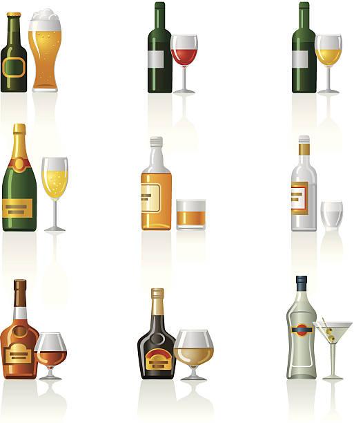 bildbanksillustrationer, clip art samt tecknat material och ikoner med alcohol drinks icon set - vitt vin glas