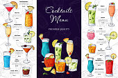 Alcohol drinks menu. Bar brochure template for cafe or restaurant. Vector illustration with hand drawn elements.