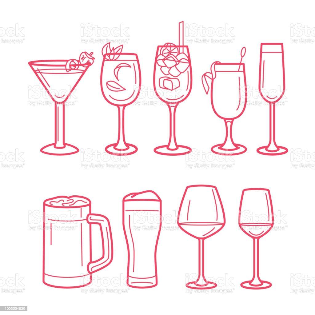 alcohol drinks menu line art illustrations of different types of bar glasses stock vector art. Black Bedroom Furniture Sets. Home Design Ideas