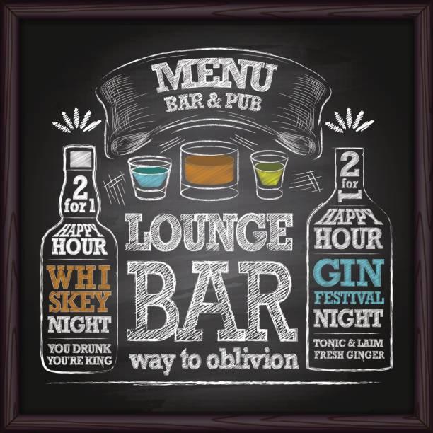 alcohol drinks menu on chalkboard - alcohol drink backgrounds stock illustrations