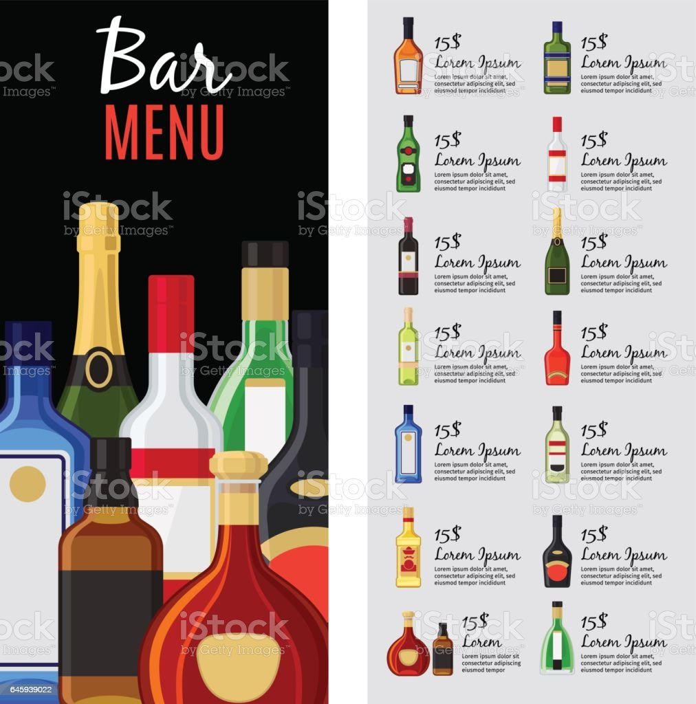 Alcohol Drinks Menu Template Royalty Free Alcohol Drinks Menu Template  Stock Vector Art U0026amp;  Drinks Menu Template