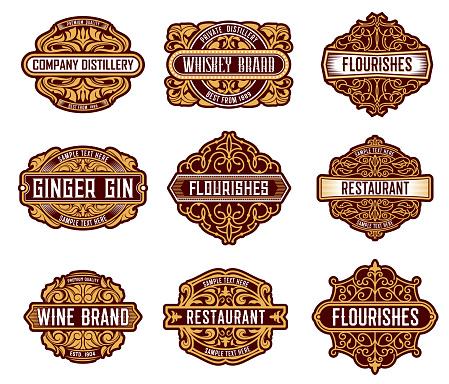 Alcohol drinks retro label floral embellishments