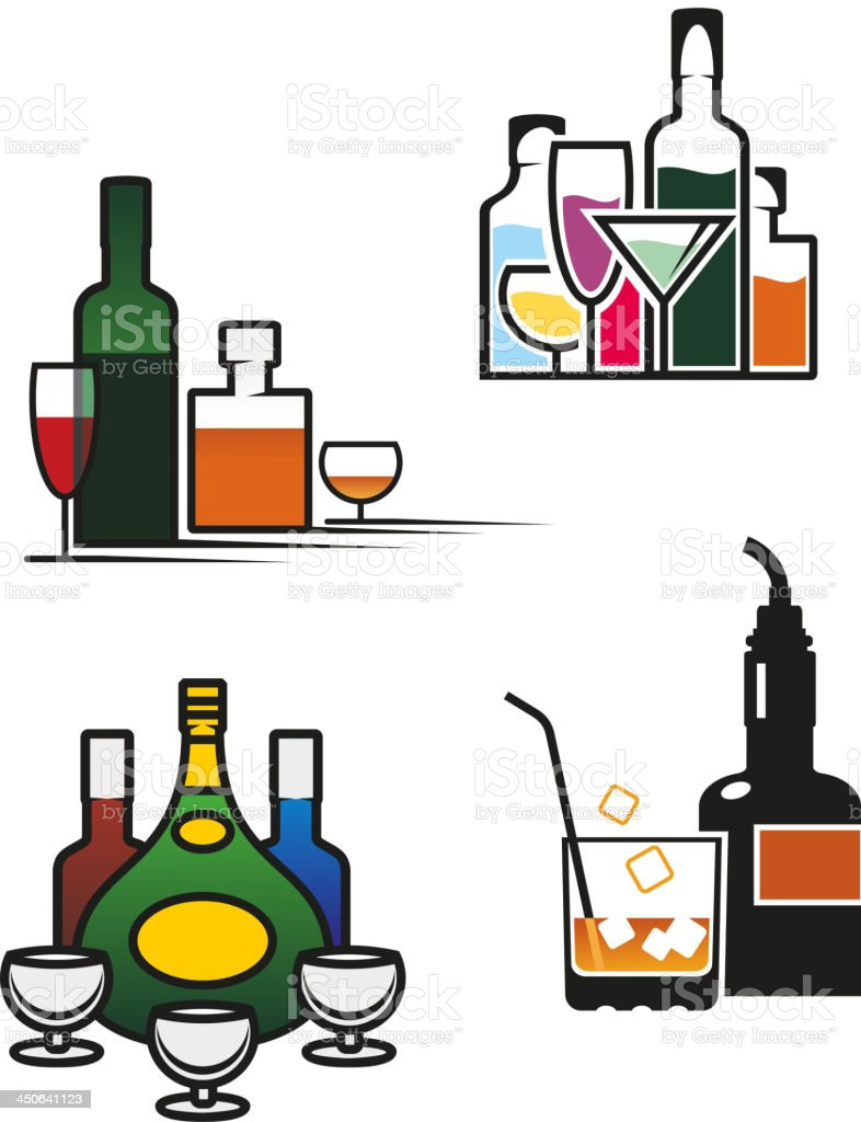 Alcohol drinks set royalty-free stock vector art