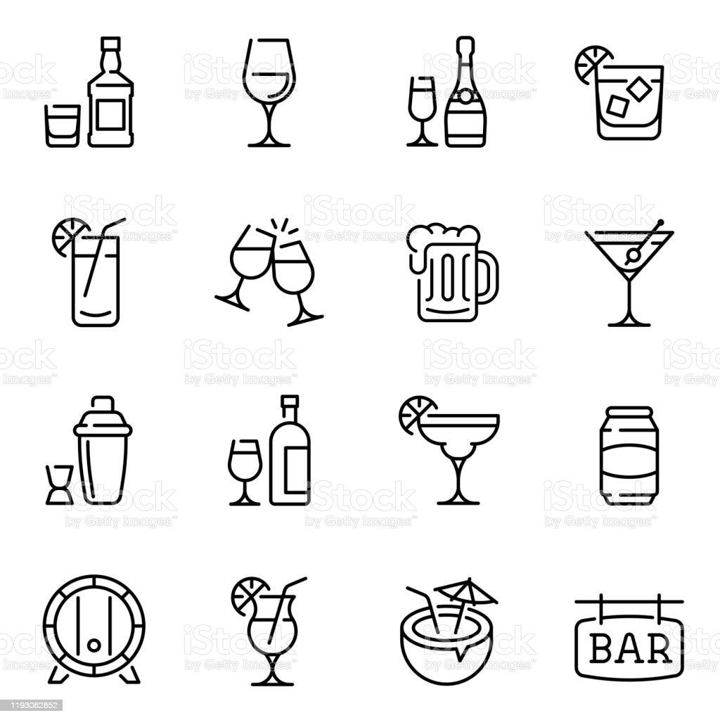 Álcool bebe ícones de vetor de linha fina definidos - Vetor de Arte Linear royalty-free