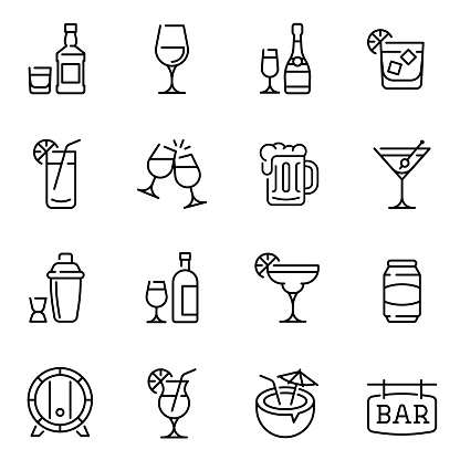 Alcohol drinks thin line vector icons set