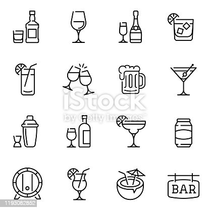 Alcohol drinks thin line vector icons set. Beer mugs, wine and exotic cocktail glasses linear illustration collection. Contour wooden barrel and shaker. Minimalist bar signboard pictogram