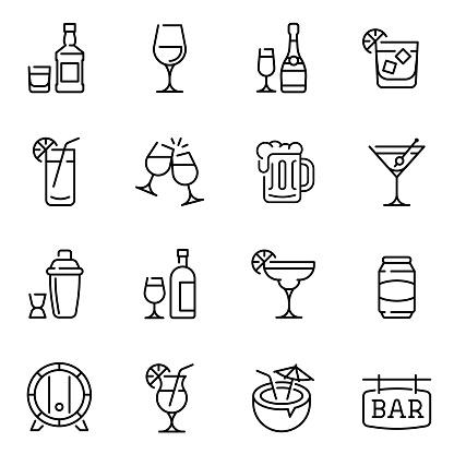 Vetores de Álcool Bebe Ícones De Vetor De Linha Fina Definidos e mais imagens de Arte Linear