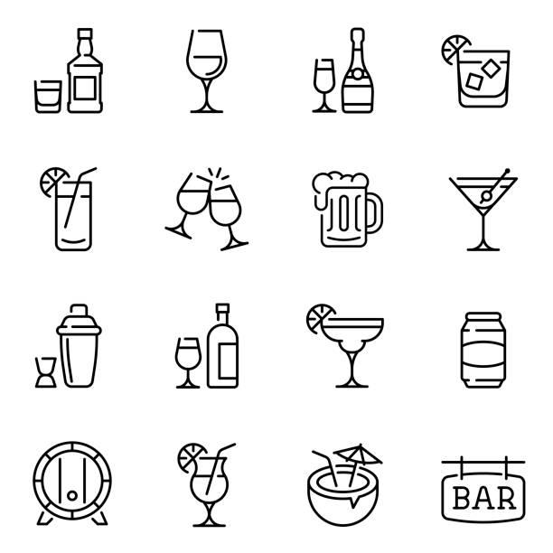Alcohol drinks thin line vector icons set Alcohol drinks thin line vector icons set. Beer mugs, wine and exotic cocktail glasses linear illustration collection. Contour wooden barrel and shaker. Minimalist bar signboard pictogram beer stock illustrations