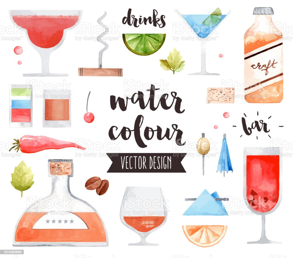Alcohol Drinks Watercolor Vector Objects vector art illustration