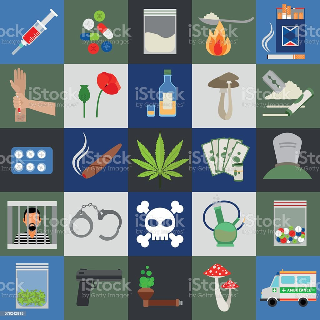 Alcohol, drugs and tabac vector icons vector art illustration