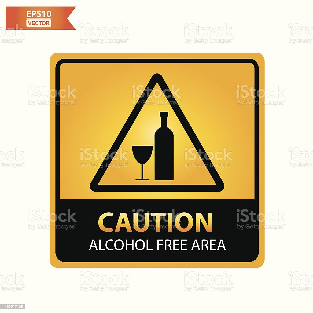 Alcohol free area text and sign. vector art illustration