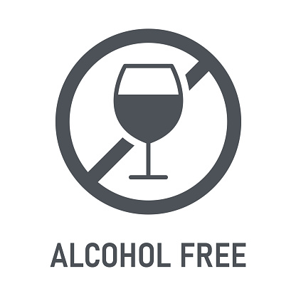 Alcohol Free. Non-Alcoholic. Natural Products. Allergens. Food Intolerance. Computer Icon, Label. Sticker. Vector illustration.